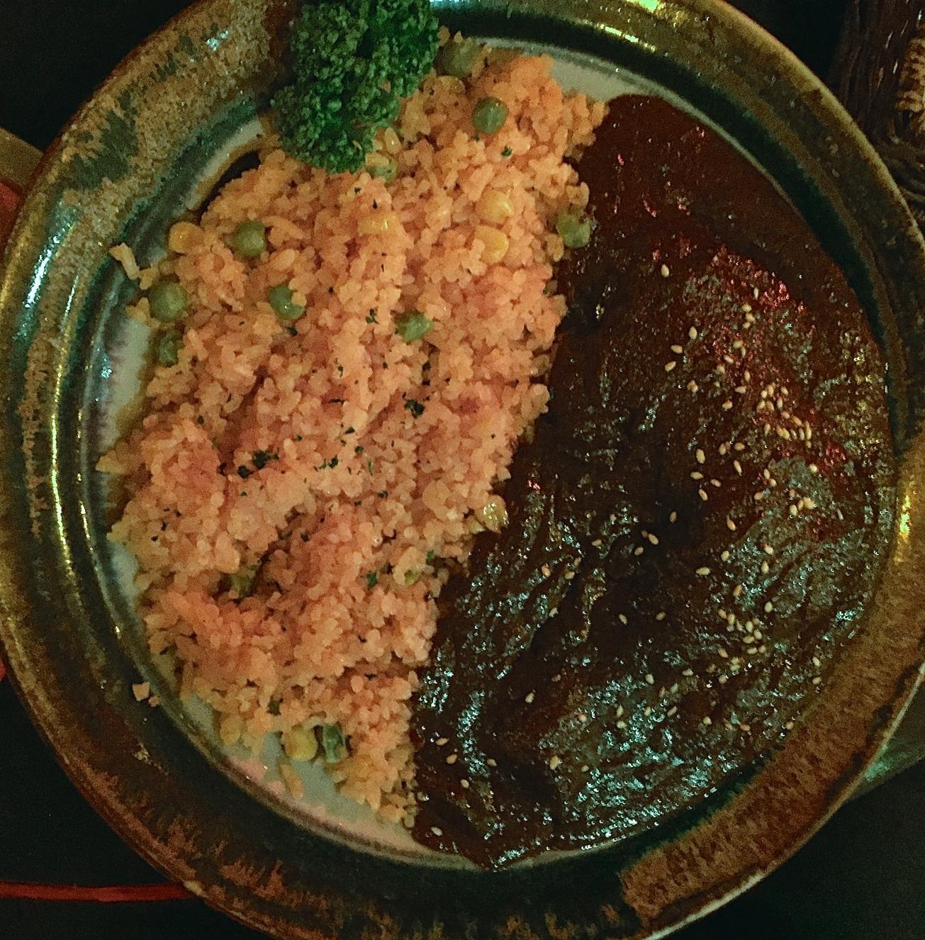 Chicken Mole: tasted waaay better than it looks here.