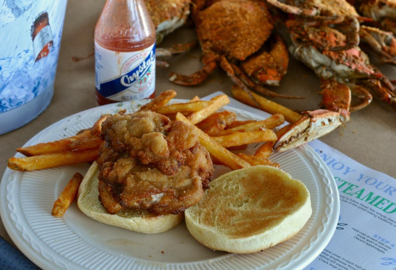 Fried oyster sandwich