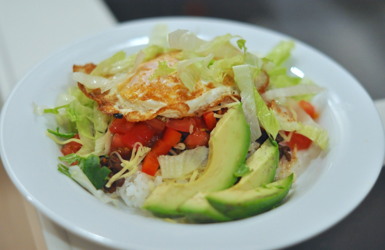 A version of taco rice with avocado